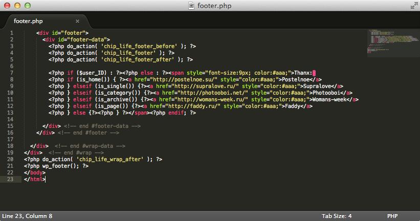 Изменённый файл footer.php