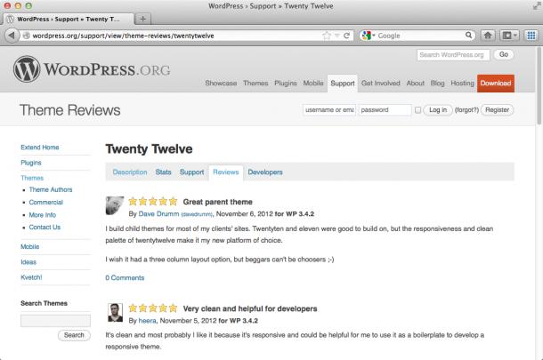 Оценки и комментарии к теме для WordPress