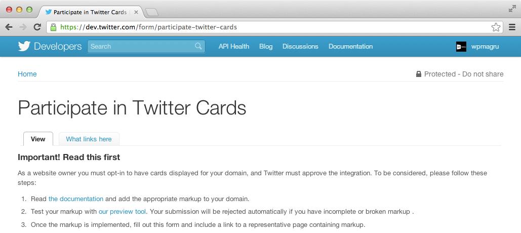 Заявка для Twitter Cards
