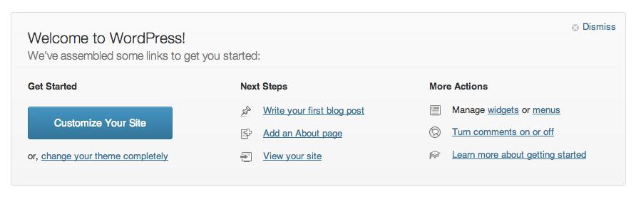 Экран приветствия в WordPress 3.5