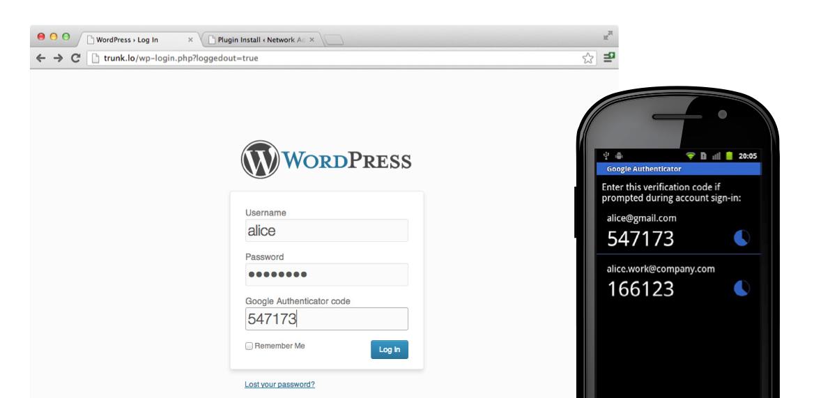 Плагин Google Authenticator для WordPress