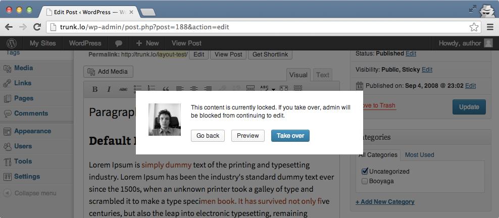 Блокировка постов в WordPress 3.6