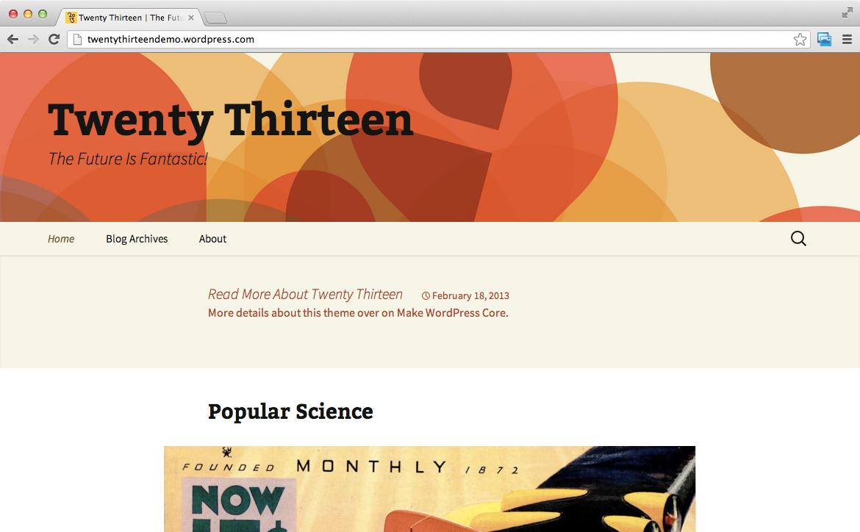 Новая стандартная тема Twenty Thirteen