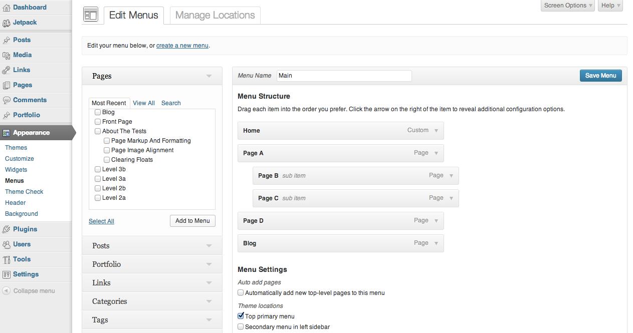 Работа с меню в WordPress 3.6