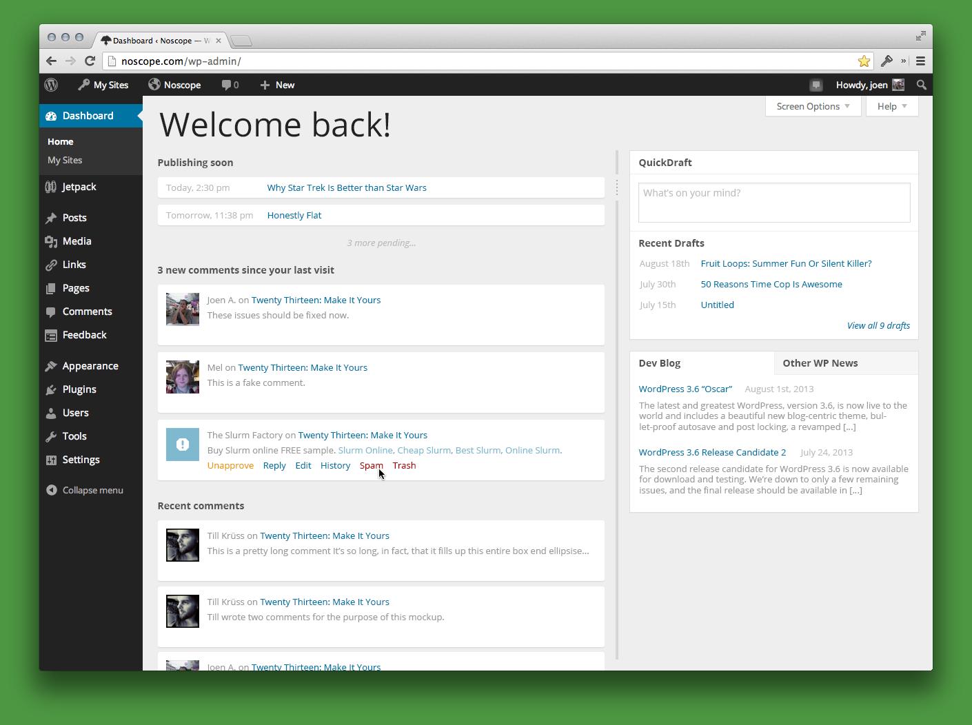 Новый экран консоли WordPress