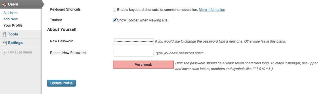 Надёжность пароля в WordPress 3.7