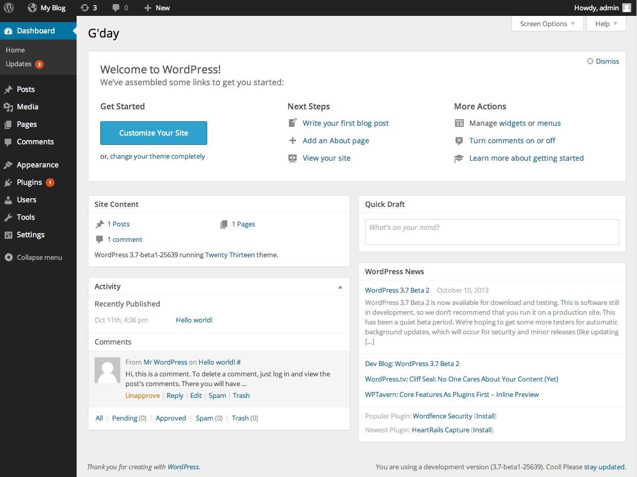 Упрощённая консоль WordPress 3.8