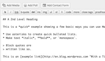 Markdown для WordPress.com