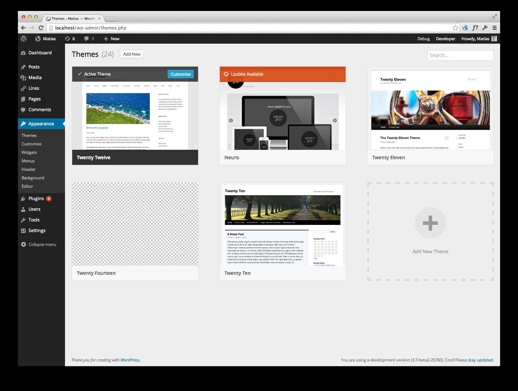 Работа с темами в WordPress 3.8