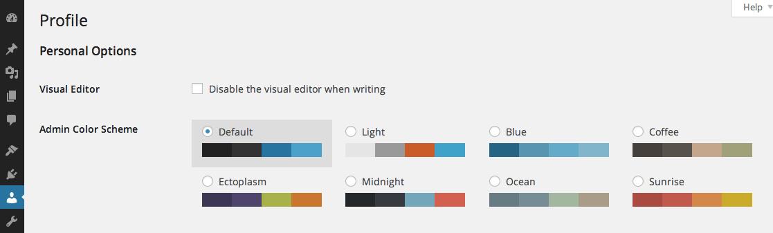 Цветовые схемы в WordPress 3.8