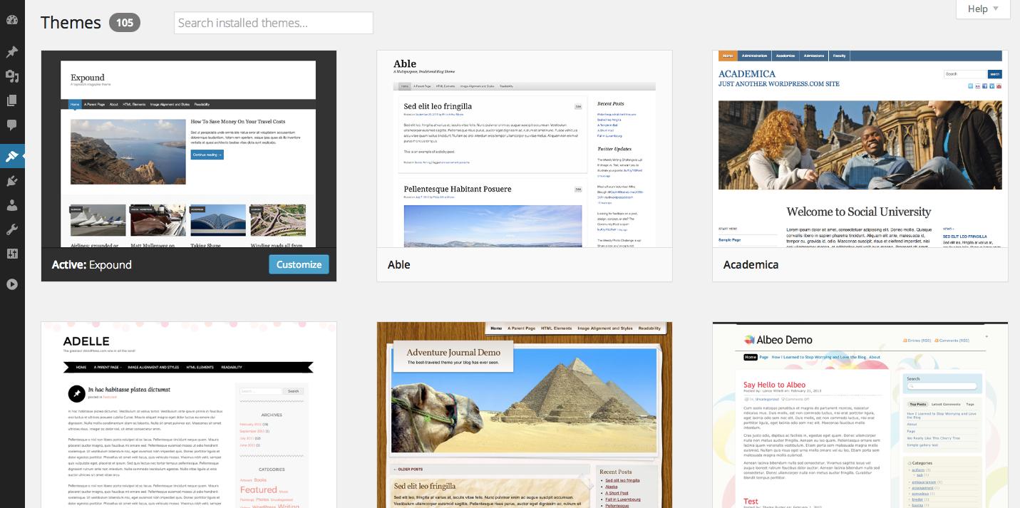 Управление темами в WordPress 3.8