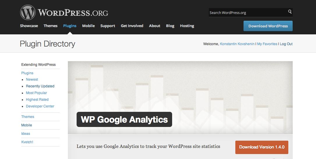 Плагин WP Google Analytics