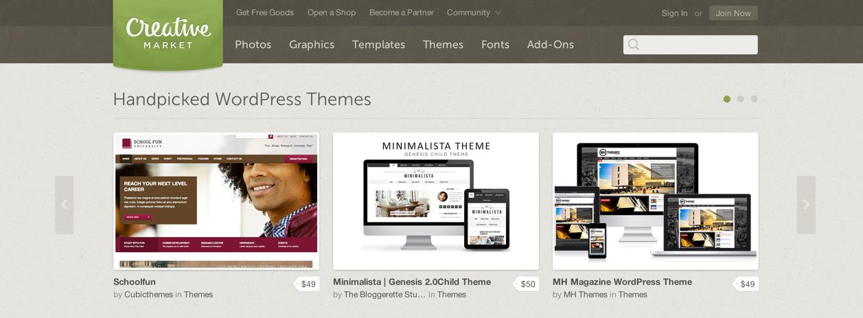 Темы для WordPress на бирже Creative Market