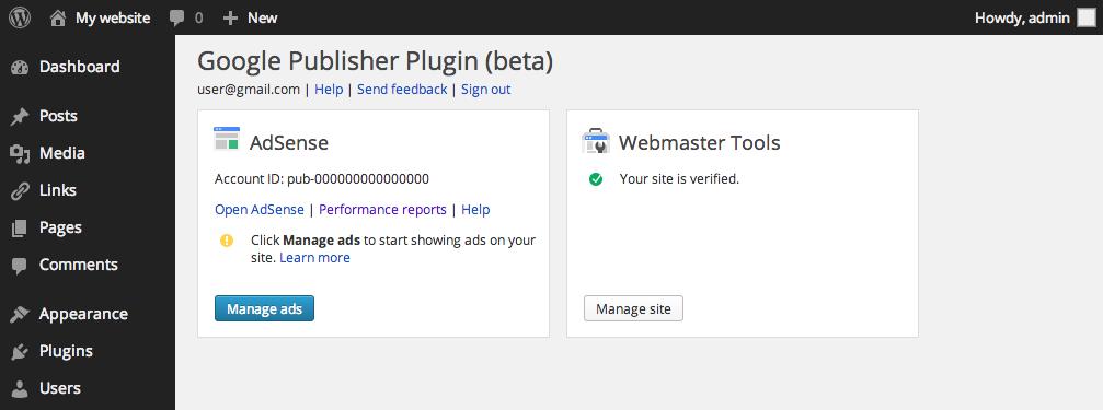 Экран настройки плагина Google Publisher