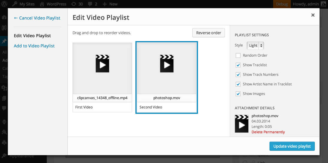Видео плейлист в WordPress 3.9