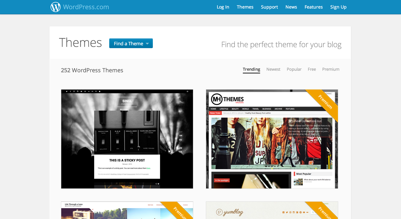 Темы в сети WordPress.com