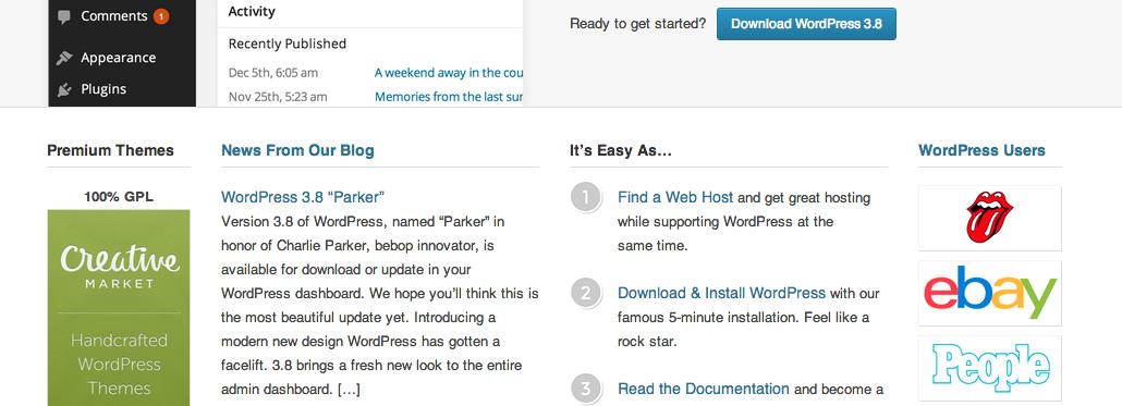 Главная страница WordPress.org