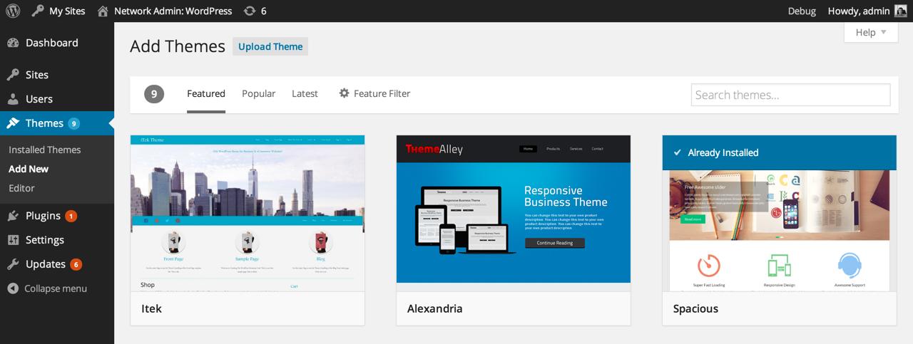 Поиск и установка тем в WordPress 3.9