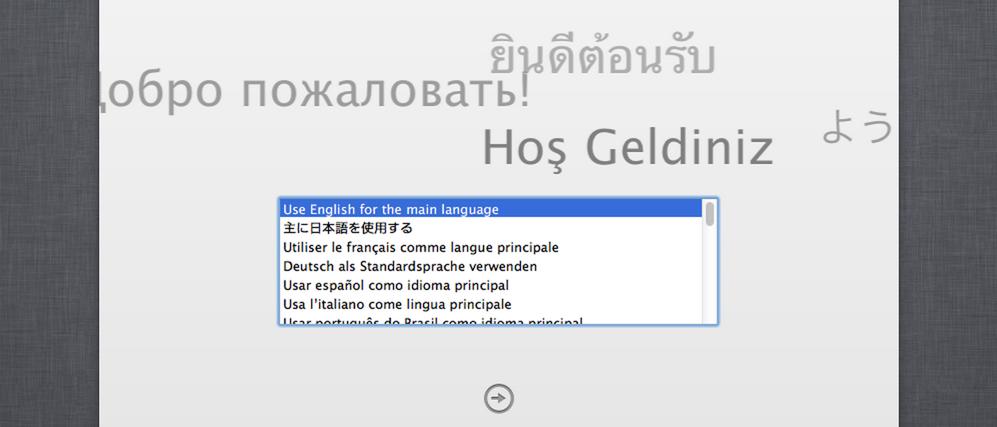 Выбор языка при установке OS X