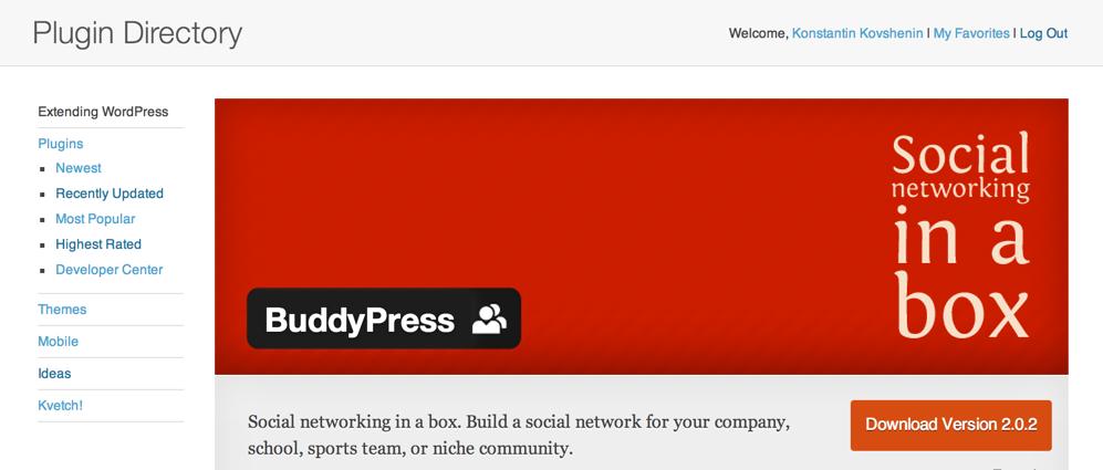 Баннер плагина BuddyPress на сайте WordPress.org