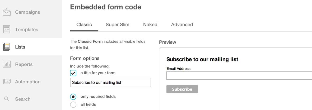 Встраиваемые формы MailChimp