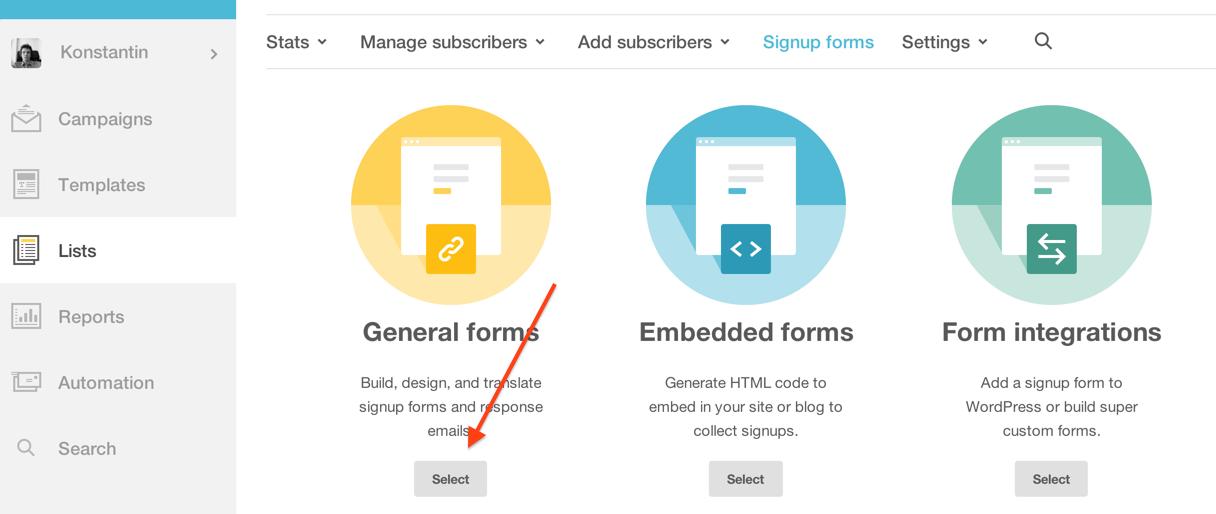 Создание формы для подписчиков в MailChimp