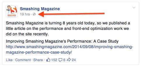 Время публикации в Facebook