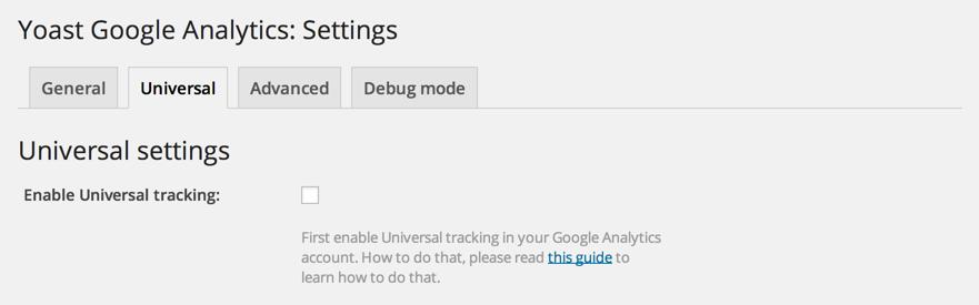 Поддержка Universal Analytics