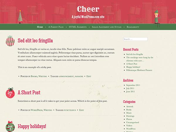 Праздничная тема для WordPress Cheer