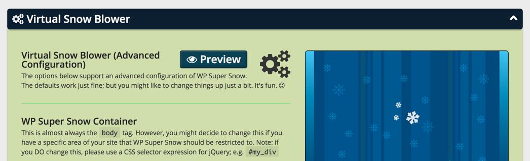 Параметры снега в WP Super Snow