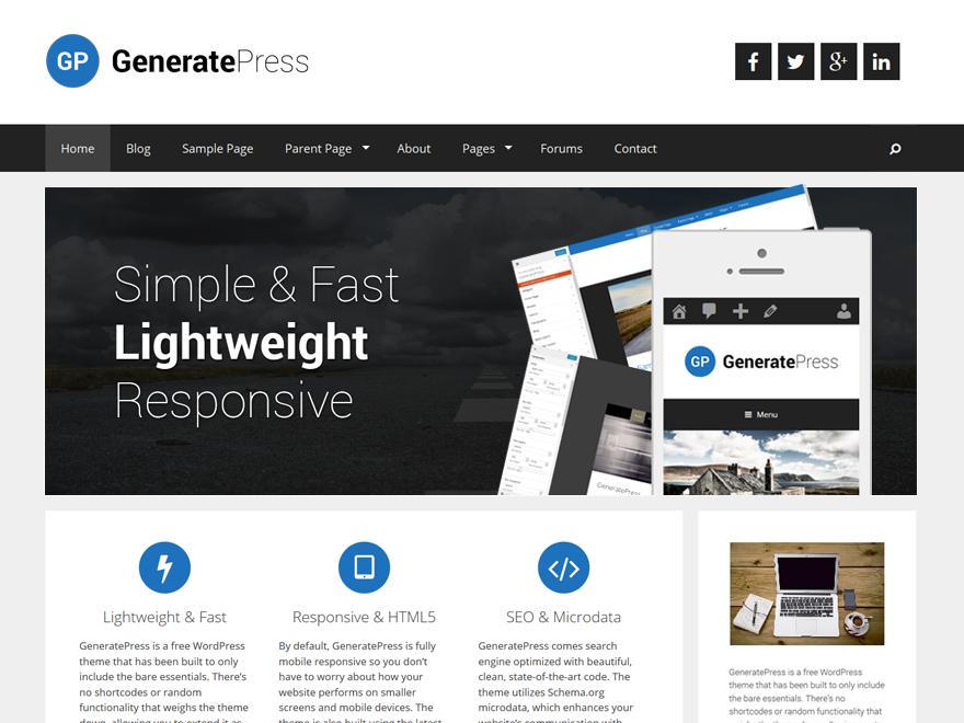 Тема для WordPress GeneratePress