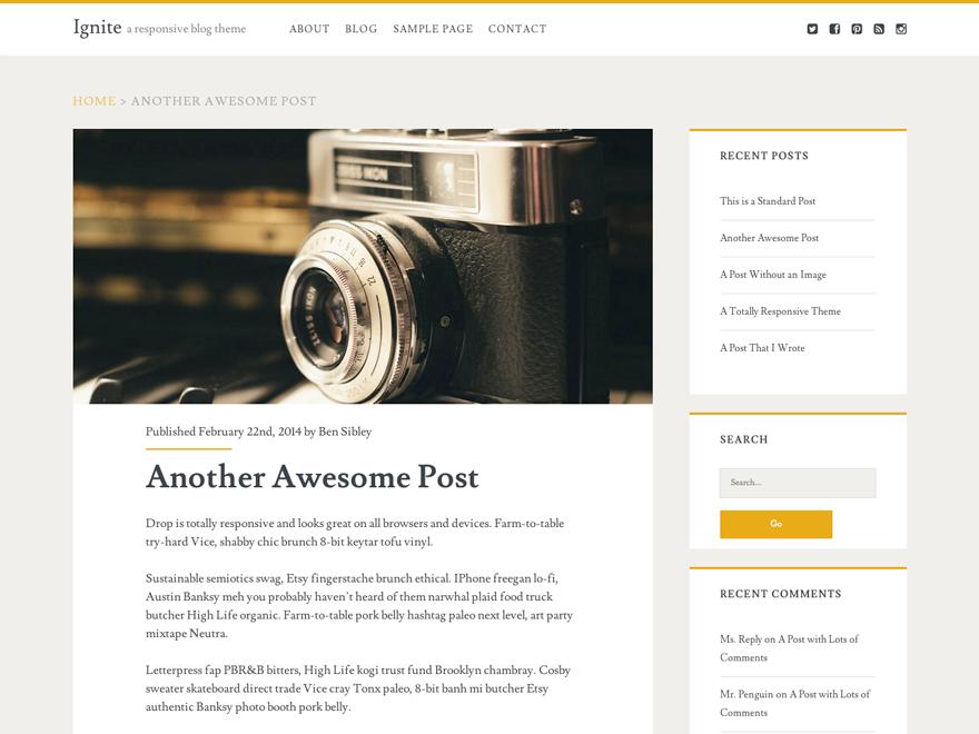 Блоговая тема Ignite