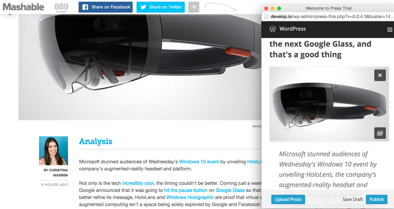 Первые наброски на новый Press This в WordPress 4.2