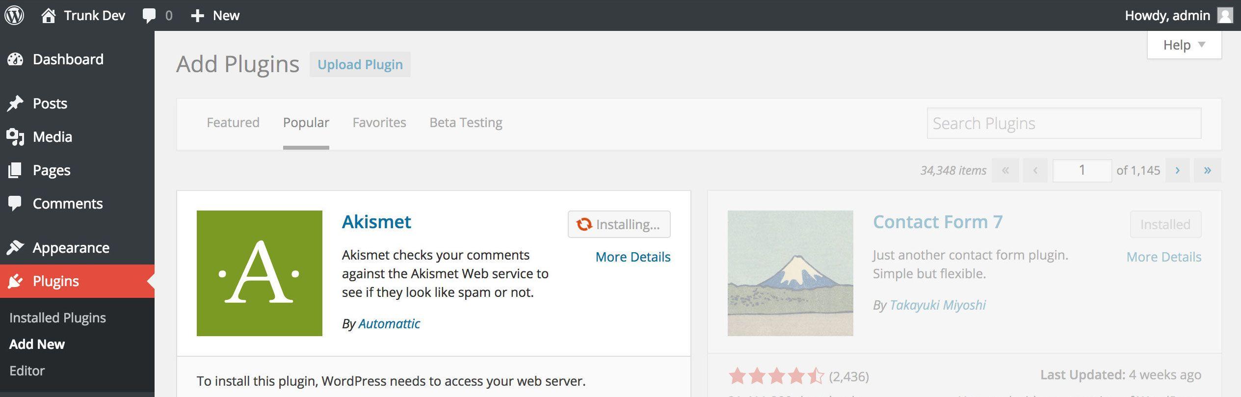 Обновление плагинов в WordPress 4.2