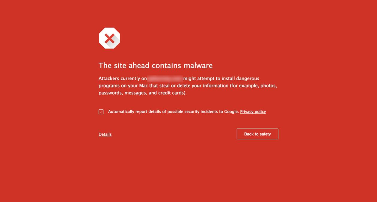 Сайт содержит вредоносный код