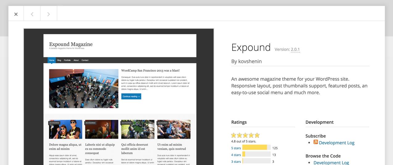 Информация о теме на WordPress.org