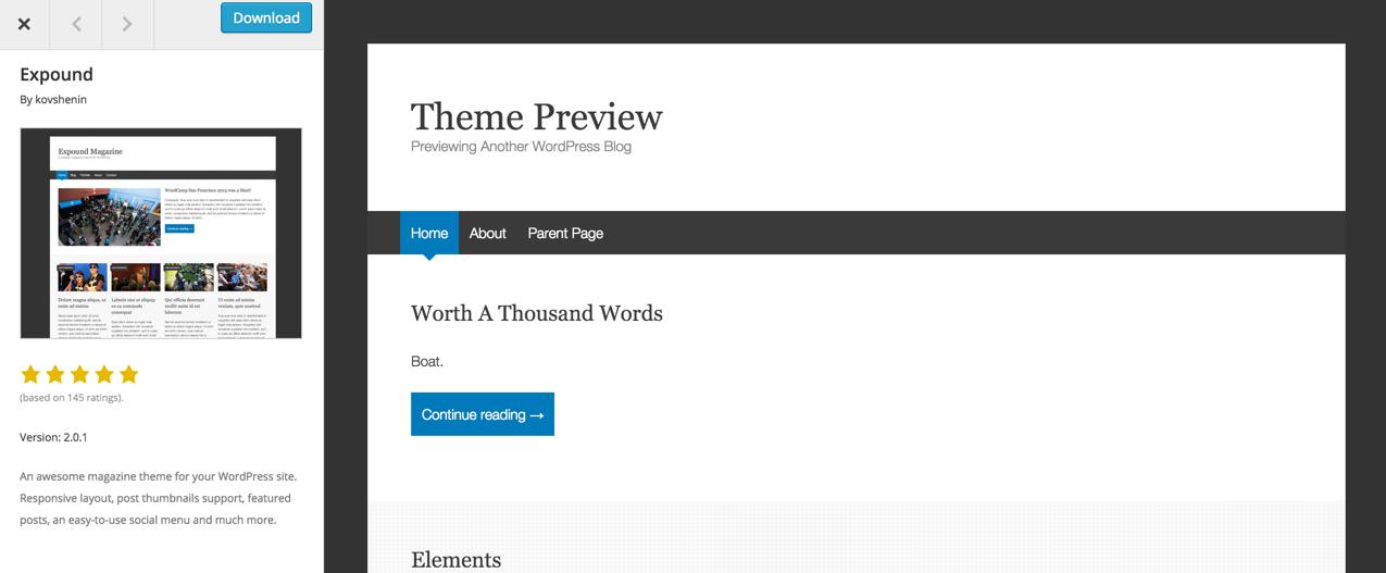 Просмотр тем на WordPress.org