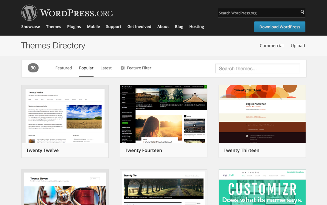 Редизайн директории тем WordPress