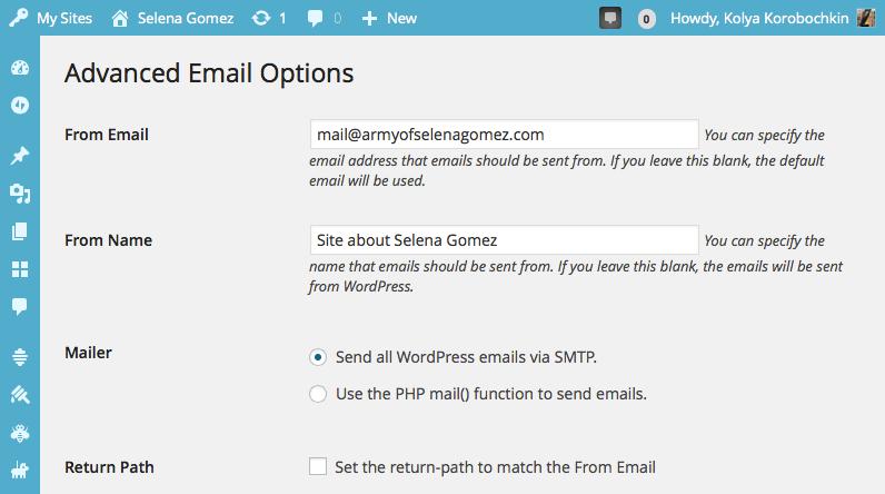 Конфигурация плагина WP Mail SMTP