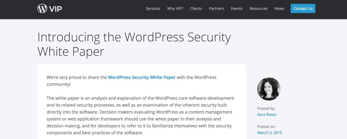 Анонс нового документа на сайте WordPress.com VIP