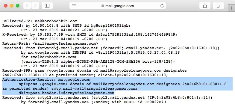Просмотр заголовков сообщения в Gmail