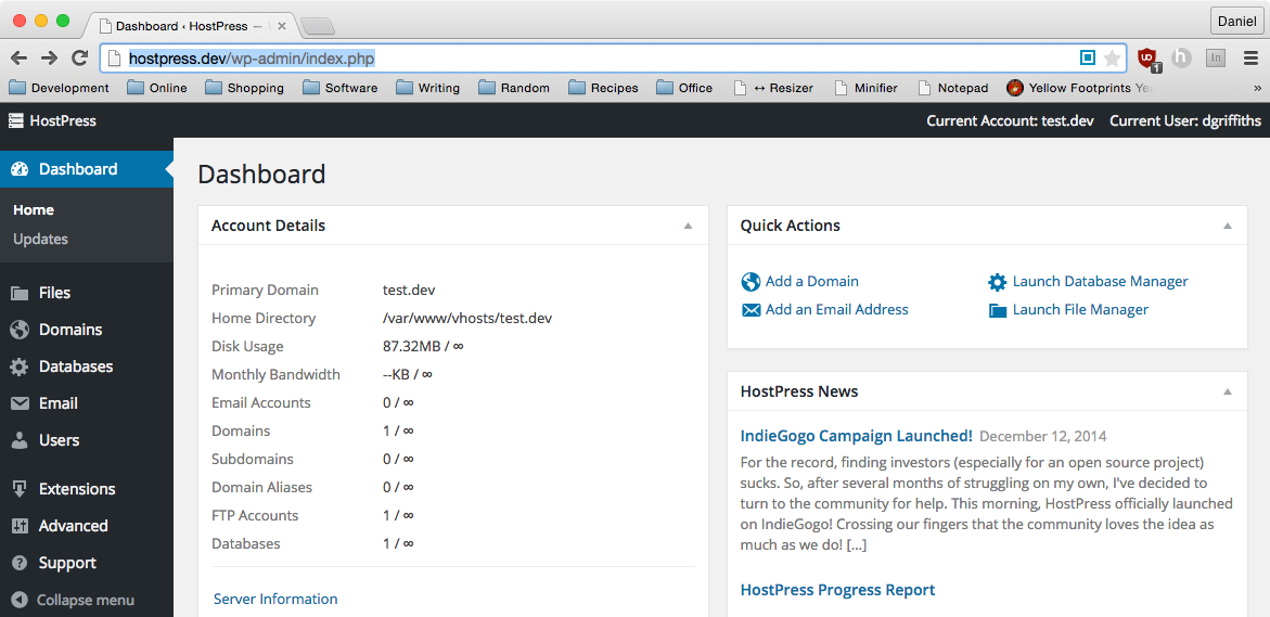 Первые наброски на интерфейс HostPress