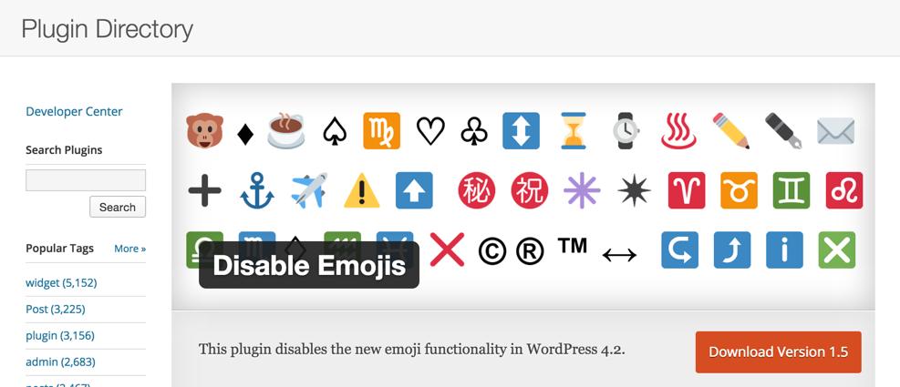 Плагин Disable Emojis для WordPress