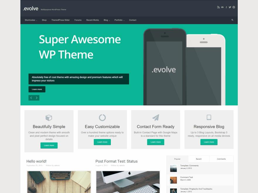 Бесплатная тема для WordPress Evolve