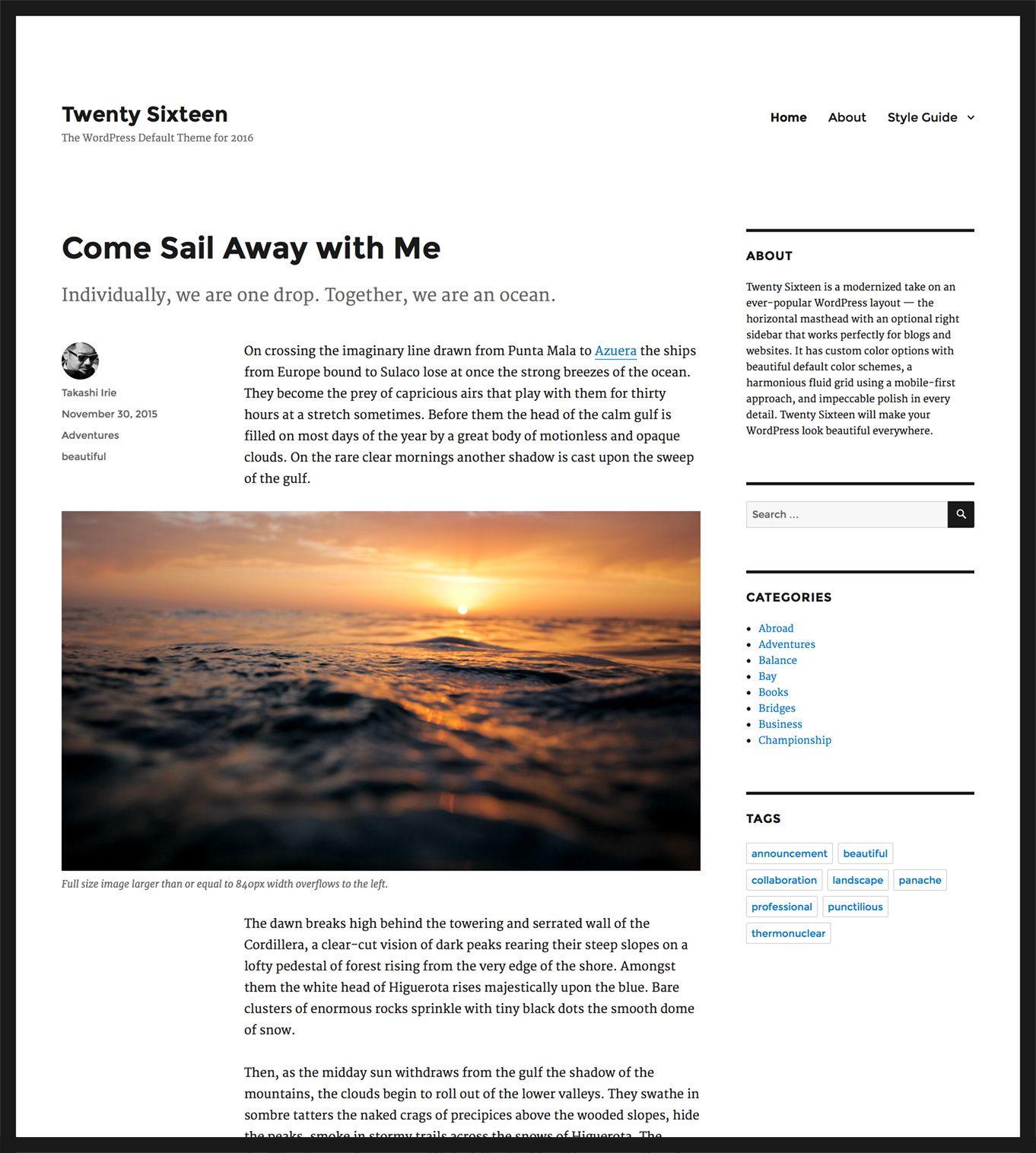 Новая тема Twenty Sixteen для WordPress 4.4