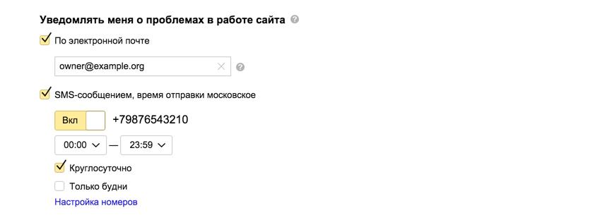 Настройки уведомлений в Яндекс.Метрике