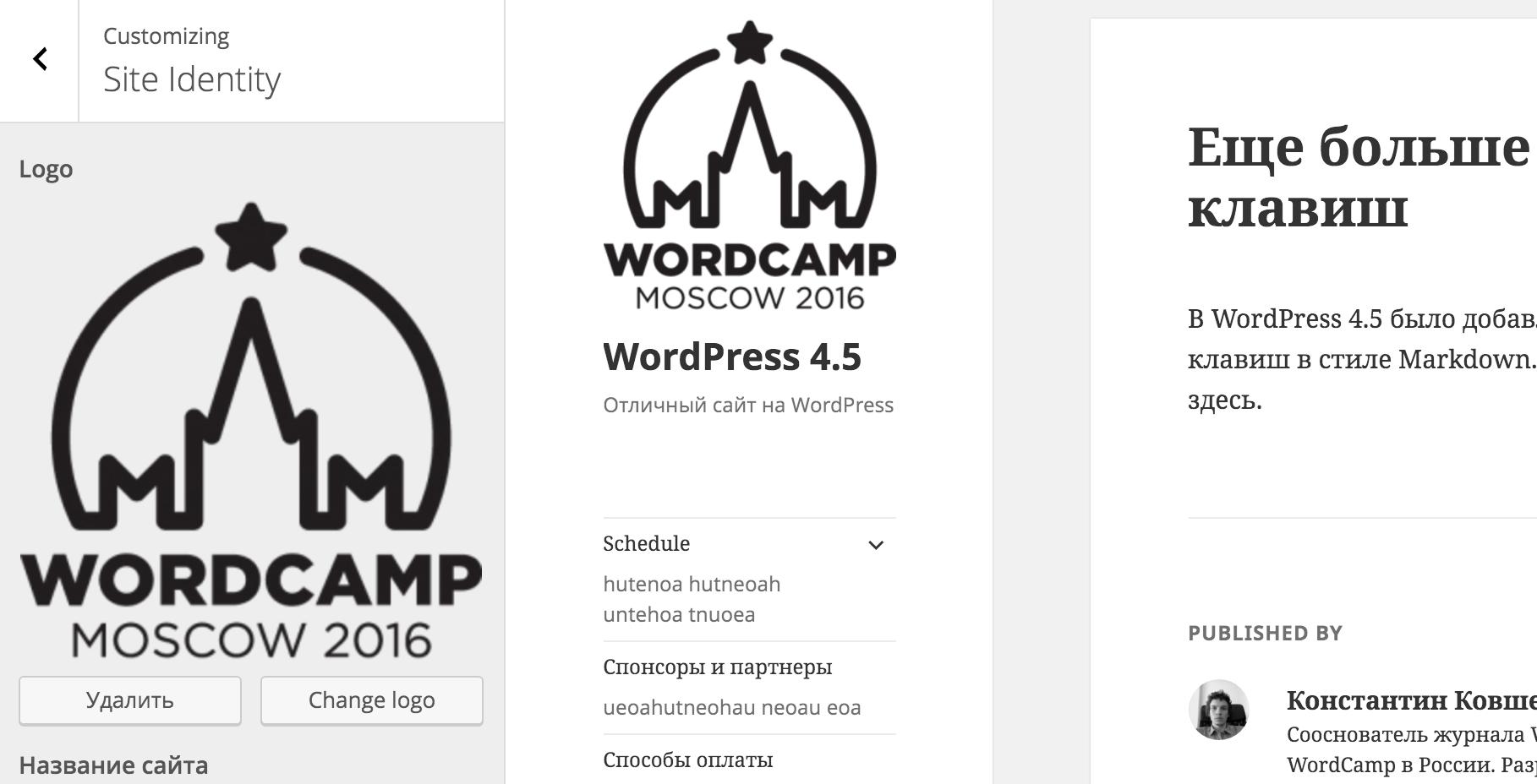 Вставка логотипа в WordPress 4.5
