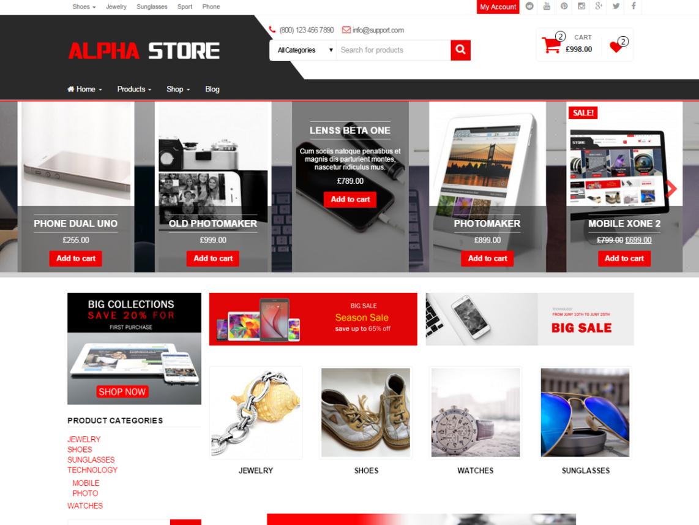Тема для WooCommerce Alpha Store