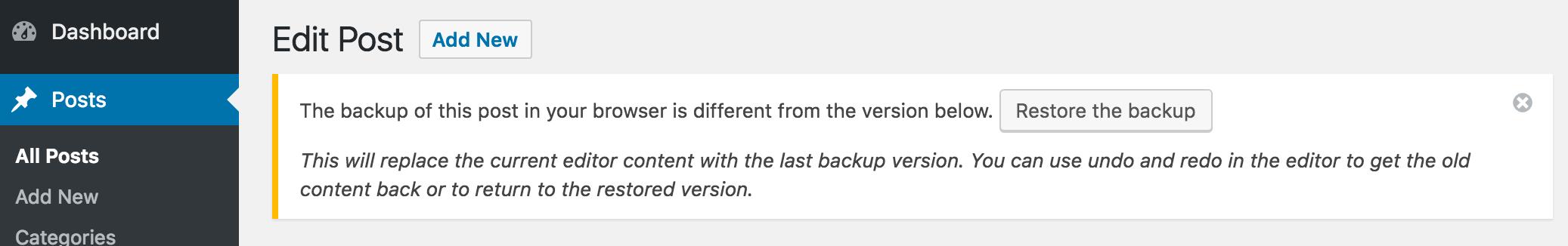 Восстановление ревизии из браузера в WordPress 4.6