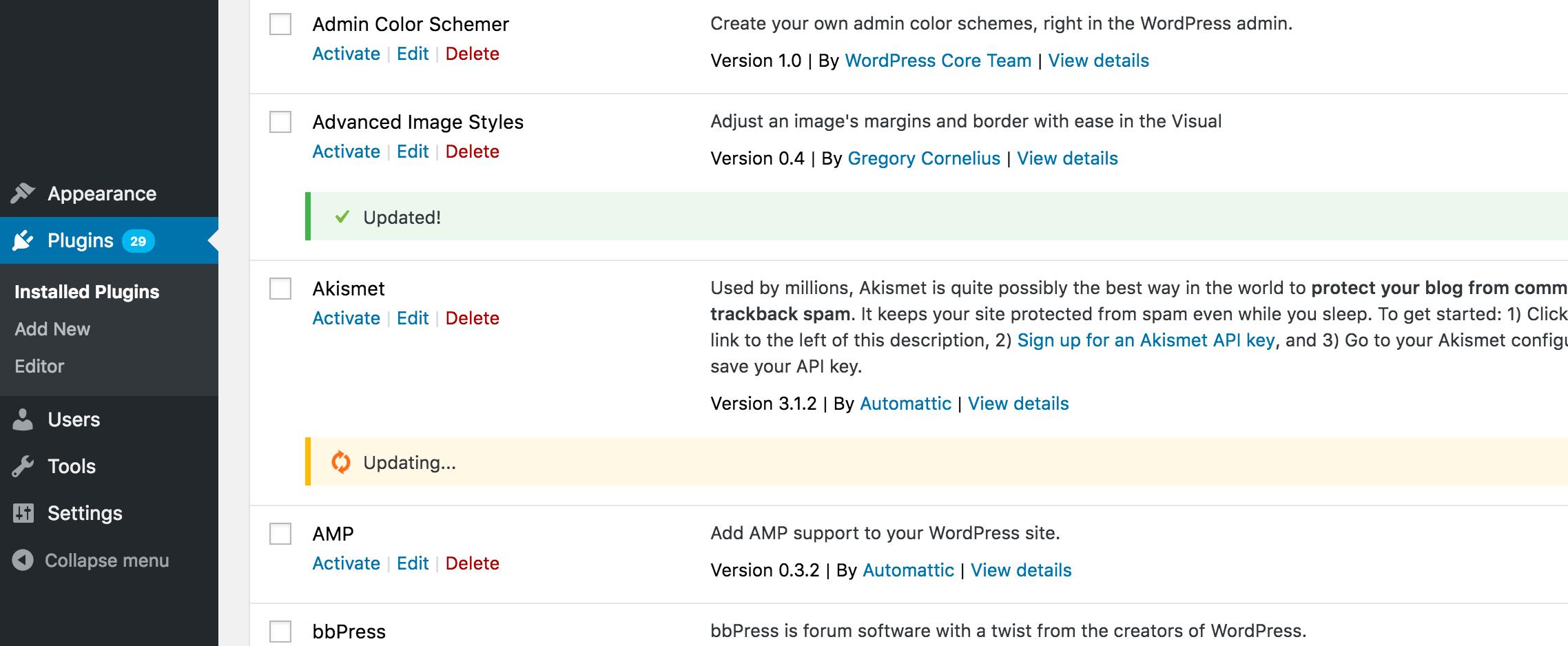 Обновление тем и плагинов в WordPress 4.6